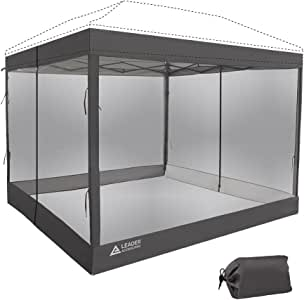 Leader Accessories Mesh Screen Zippered Wall Panels for 10' x 10' Canopy (Tent Walls Only, Frame and Top Not Included) (Grey mesh Wall)