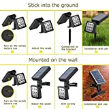 Solar Spotlight, 2-in-1 Waterproof Outdoor Solar Landscape Lighting Adjustable Solar Wall Light Auto On/Off Security Night Lights for Patio Yard Garden Driveway Pathway Pool, Pack of 4