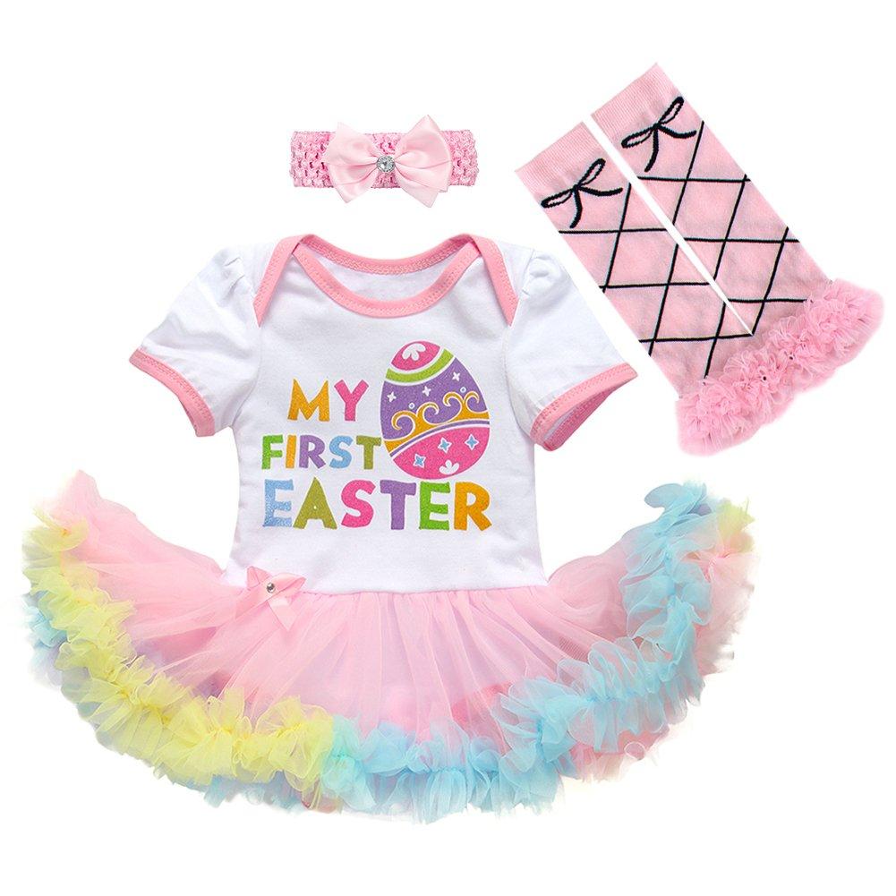 ac4f7d306 Newborn Baby Girls Cotton 3/4pcs My 1st Easter Outfit Bunny Eggs Romper  Bodysuit Tutu Dress Headband Leg Warmer Shoes Set Footies Clothing