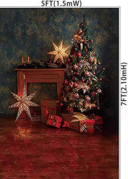 7/×5ft Background Wall Drop Vinyl Winter Snowflake Christmas Tree Red Car Color Fading-Resistant Christmas Decoration Wall Decorations Prom Birthday Photography Backdrops Photo Background Party Wall
