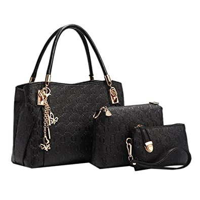 Amazon.com: Deluxe Women 3 Piece Tote Bag Pu Leather Handbag Purse ...
