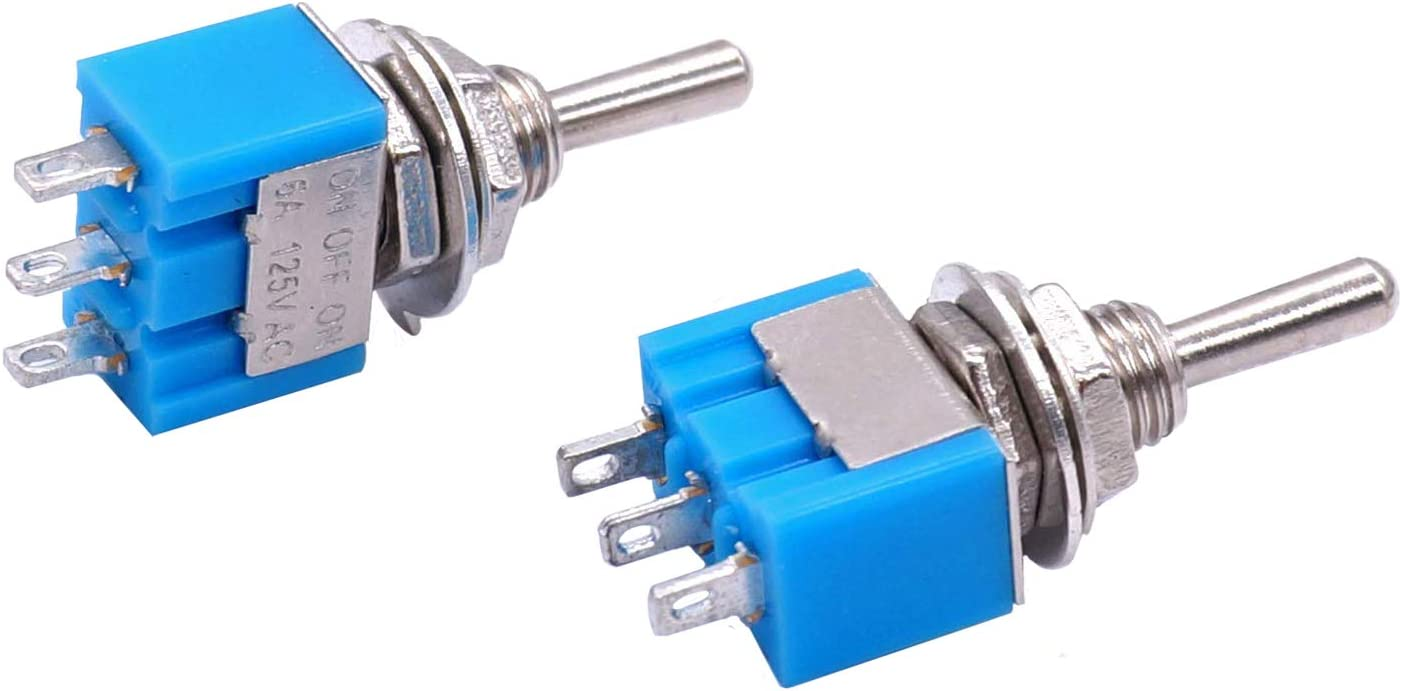 Encendido//Apagado//Encendido 3 Pines 3 Posiciones Mini Interruptor de Palanca de Enclavamiento AC 125 V ZHITING 10 Piezas MTS-103 6A