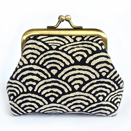 Kisslock Coin Purse, Seigaiha Indigo, Japanese Wave