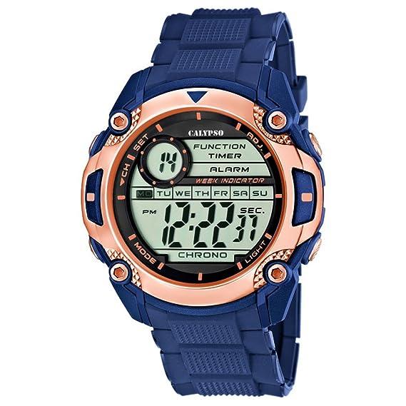 Calypso hombre-reloj deporte digital PU-pulsera azul cuarzo-reloj esfera colour cobre UK5577/8: Calypso: Amazon.es: Relojes