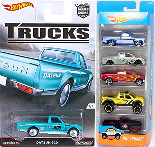 Hot Wheels Hot Trucks & 4 x 4 5-Pack Set & Car Culture Trucks Real Riders Datsun 620 2016 Model Special Series pickup - '83 Silverado / Nissan Titan / 2009 Ford F-150 / '10 Toyota Tundra / '49 Ford F1