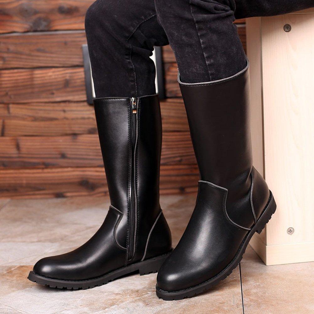 Hilotu Clearance Simple Shoes Men's Shoes Smooth Leather Upper Side Zipper Mid Calf Combat Boots for Gentlemen (Color : Black, Size : 9.5 D(M) US) by Hilotu-shoes (Image #2)