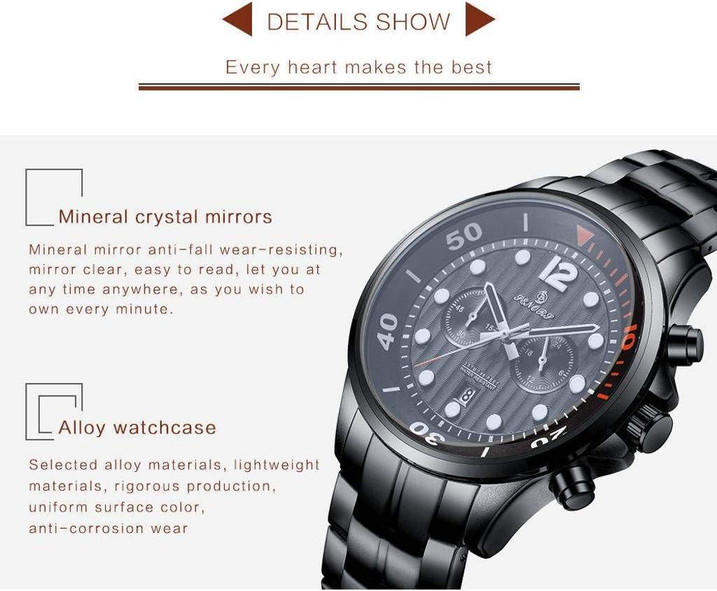 YAALO Metallo della Vigilanza degli Uomini,Multifunzione Impermeabile Orologi Calendario Nero