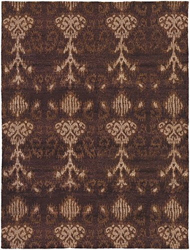 Couristan Transitional Rectangle Area Rug 8'x11' Chocolate-Tan Sagano Collection (Couristan Chocolate)