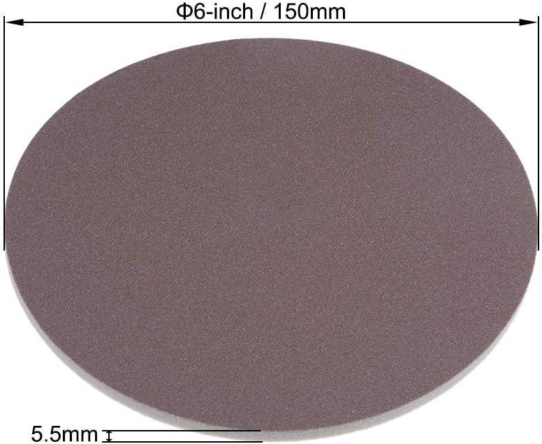 6-inch sanding hook and loop sanding loop wet//dry for cars Wood Gypsum board Metal Brown Corundum 500-600 Grain 3 pieces