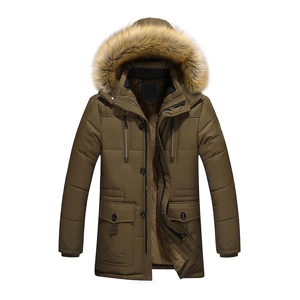 G-Real Men's Winter Thicken Fur Coat Puffer Jacket with Hooded Coat Outwear Parka Coffee by G-real Men Outfits