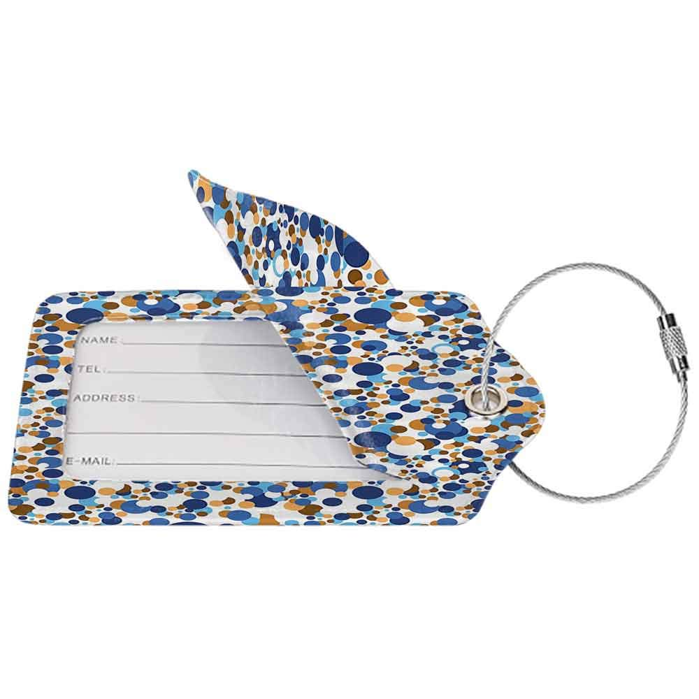 Soft luggage tag Confetti Abstract Circle Round in Color Bubble Retro Celebration Design Bendable Navy Sky Blue Apricot Cinnamon W2.7 x L4.6
