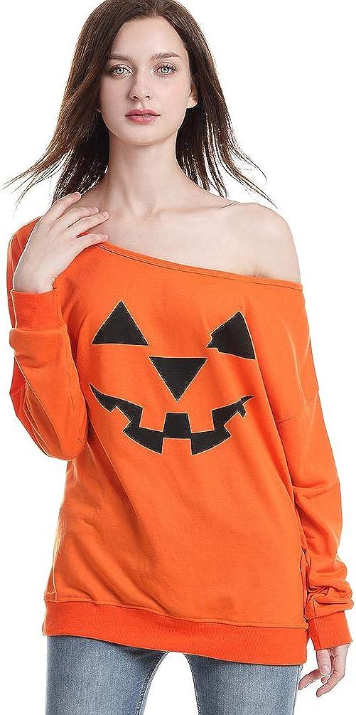 Ugitopi Costumi Pullover da Donna Felpe Halloween con Spalle Scoperte Orange S