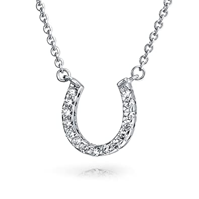 Amazon pave cz equestrian horseshoe pendant sterling silver pave cz equestrian horseshoe pendant sterling silver necklace 16 inches aloadofball Image collections