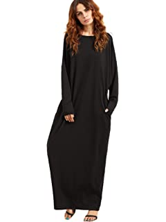 428ccca2b0 Verdusa Women s Casual Long Sleeve Oversized Loose Pocket Plus Size Maxi  Dress