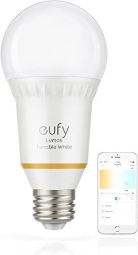 eufy Lumos Smart Bulb by Anker, Works with Amazon Alexa and Google Assistant, No Hub Required, Wi-Fi, 60W Equivalent, Dimmable LED Light Bulb, A19, E26, 800 Lumens Tunable White
