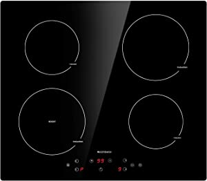 Induction Cooktop 4 Burner ECOTOUCH Electric Cooktop Built-in Induction Cooker 24 inch, Induction Stove Top Smoothtop Vitro Ceramic Surface with Booster Burner IB640