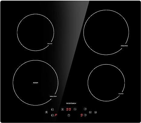 Placa de inducción de 4 quemadores ECOTOUCH, cocina de inducción integrada, 24 pulgadas, superficie de cerámica Vitro con quemador de impulso IB640: Amazon.es: Grandes electrodomésticos