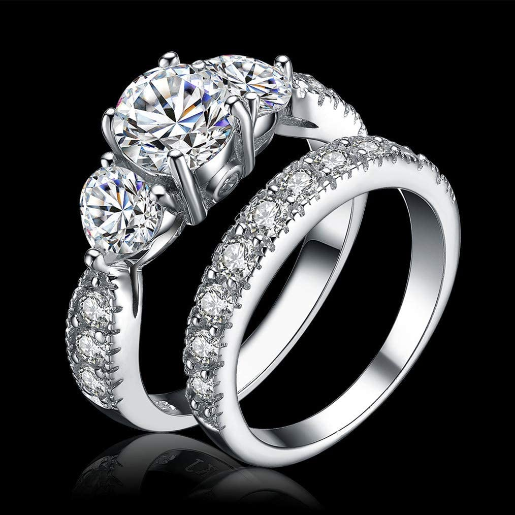 Details about  /Mesh Design Wedding Ring Trio Set Diamond Matching Promise Ring Set Gift For Her