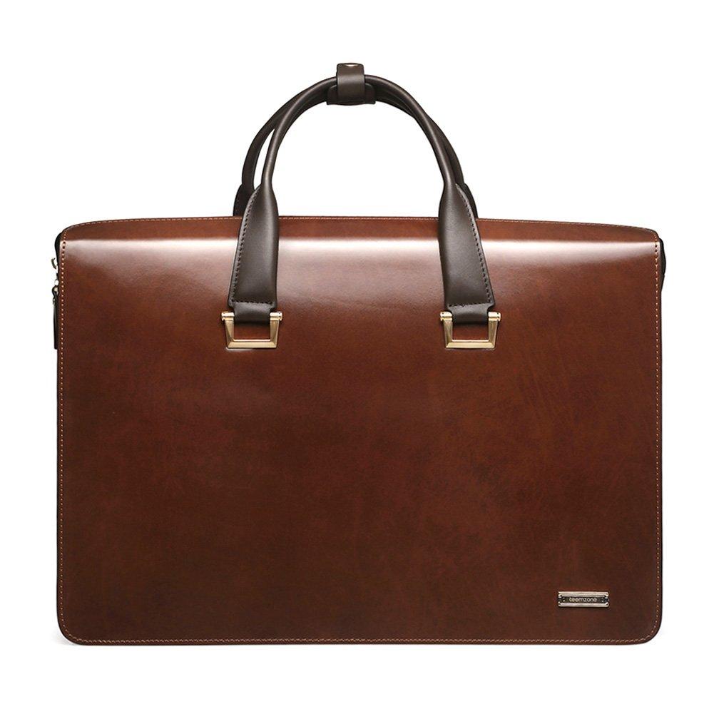 Teemzone Men Genuine Leather Business Laptop Case Briefcase Attache Bag (Larger size)