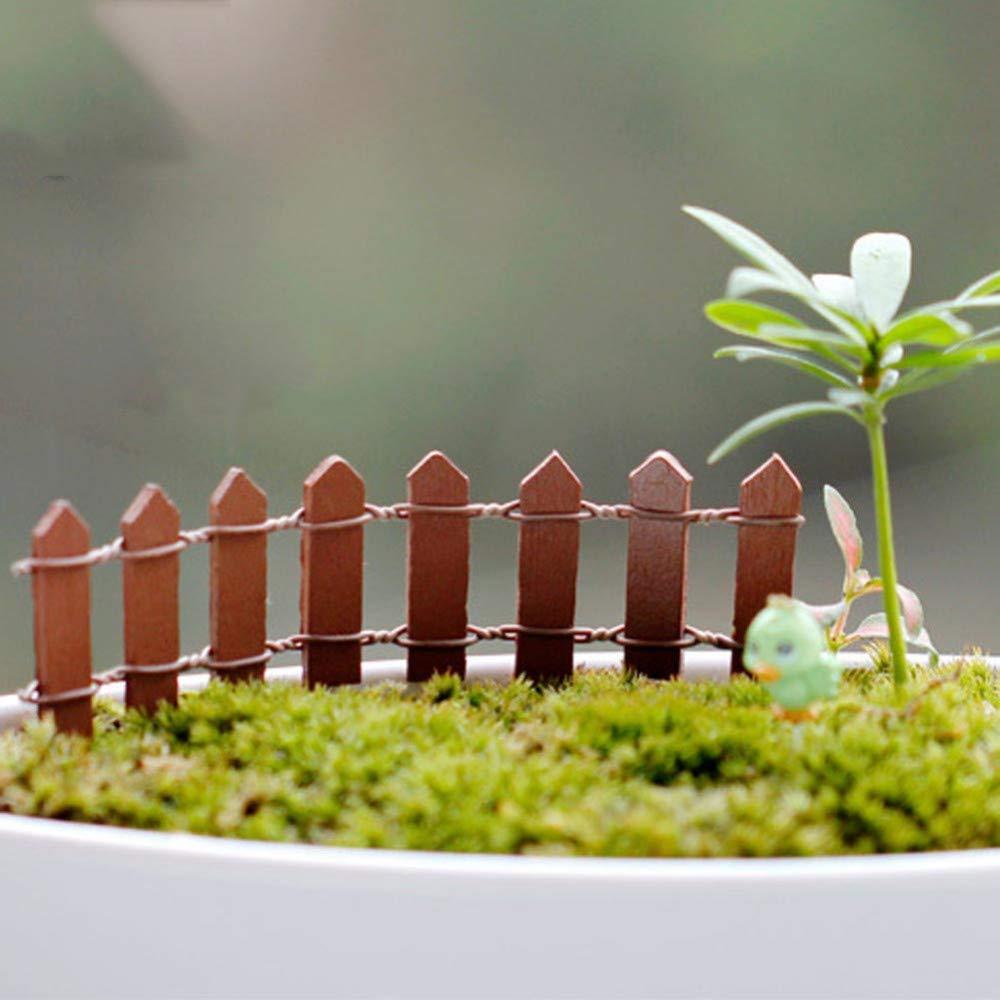 1 JIAHUADE 1Pc Miniature Small Wood Fence DIY Fairy Garden Micro Dollhouse Plant Pot Decor Bonsai Terrarium Ornament DIY Miniature Garden,1