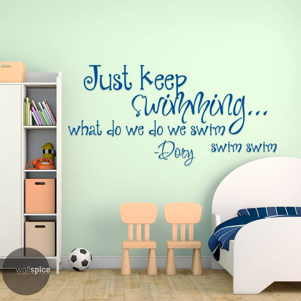 Ditooms Just Keep Swimming Quotes Vinyl Wall Decal Art Wall Sticker for Room Decor