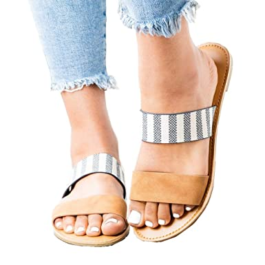 883bd9824 Amazon.com  Ymost Womens Flat Sandals Slip-on Double Strap Two Band Slide  Open Toe Summer Slides  Clothing