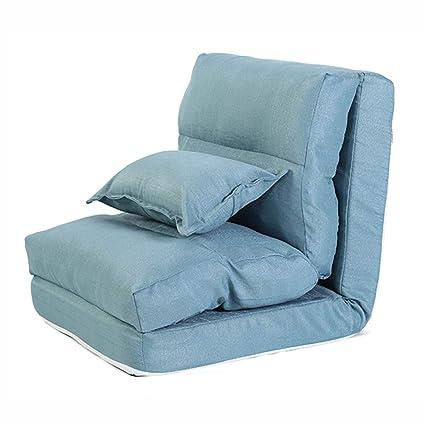 Puffs pera Tejido de Lino Lounger Seat Sofá Silla con Almohada de 5 Posiciones Ajustable Sleeper