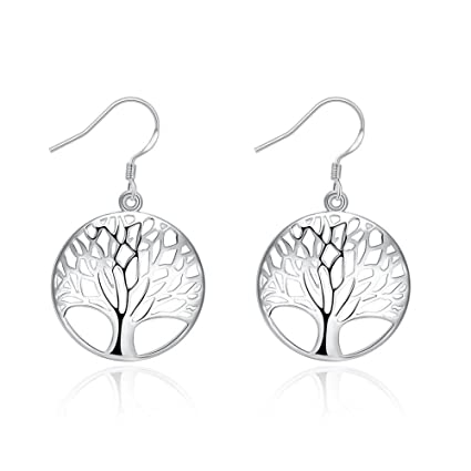 547a5aa48 Amazon.com: KOREA-JIAEN Earrings S925 Sterling Silver Plated Base Dangle  Earring Tree Type Eardrop (A): Home & Kitchen