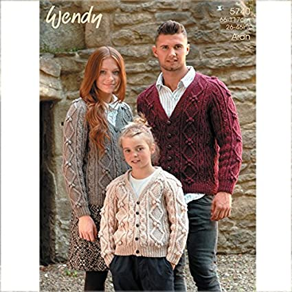Amazon Wendy Family Cable Cardigans Knitting Pattern 5740 Aran