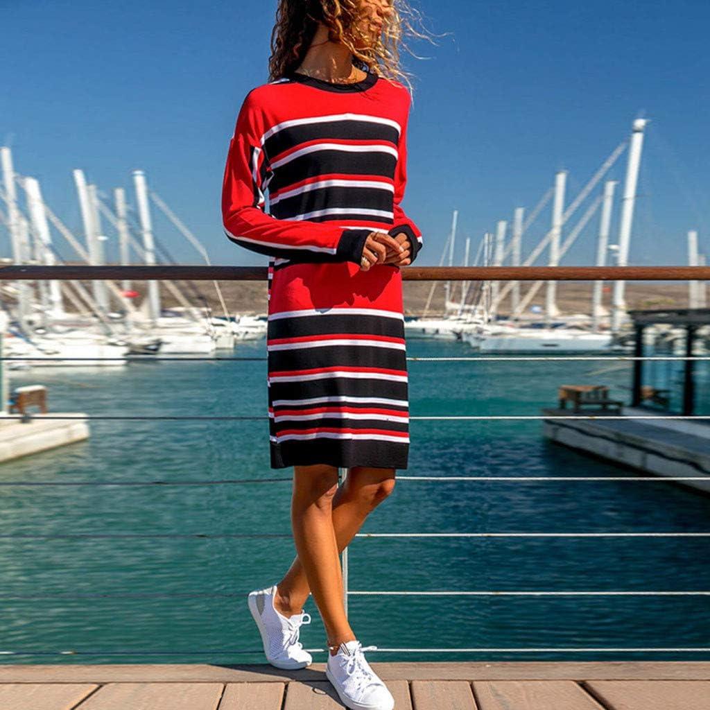 Pandaie-Womens Dresses Women Casual Long Sleeve Striped Printed Color Block Loose Knee-Length Dress
