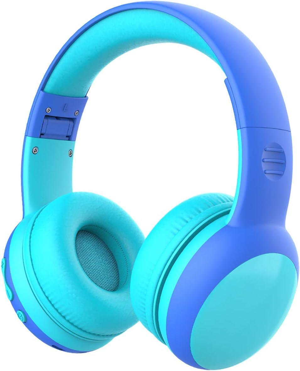 Auriculares Bluetooth para niños, Auriculares Plegable para niños con 85dB Volumen Limitado, Auriculares Ajustable y Plegable con micrófono, niñas y niños, Azul New Version