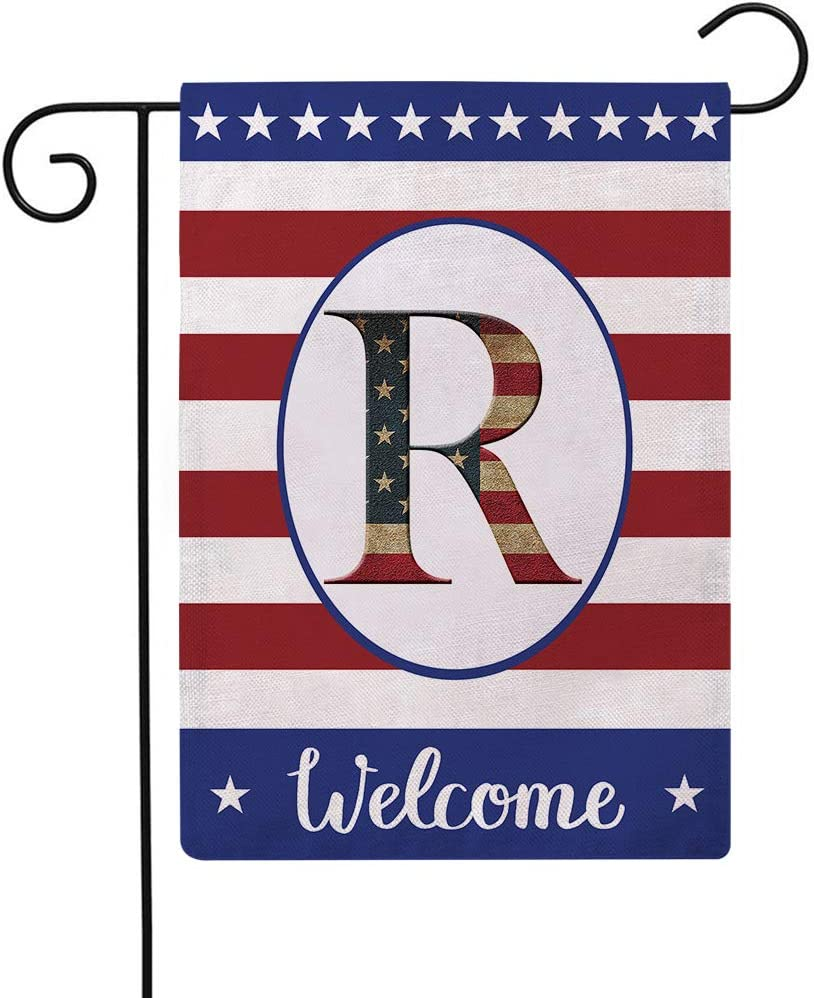Patriotic Decorative Flag Initial Letter Garden Flags with Monogram R Double Sided American Independence Day Flag Welcome Burlap Garden Flags 12.5×18 Inch for House Yard Patio Outdoor Decor(R)