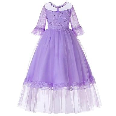 eb334a2ae25 Amazon.com  Flower Girl Dress Girls Tulle Dresses Long Sleeve Ball Gown  Wedding Party Dress (Purple