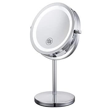 Amazon Com Lighted Makeup Mirror 7 Led Vanity Mirror 10x Magnifying Double Sided Swivel Cosmetic Mirror Chrome Finish Alhakin Beauty