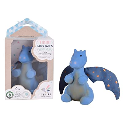 Tikiri Fairytales Midnight Dragon Natural Rubber Rattle with Crinkle Wings (Royal Blue): Toys & Games