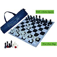 """Paramount 17""""x 17"""" Professional Vinyl Chess Set (Fide Standards)- with 2 Extra Queens/Chess Bag, Black"""