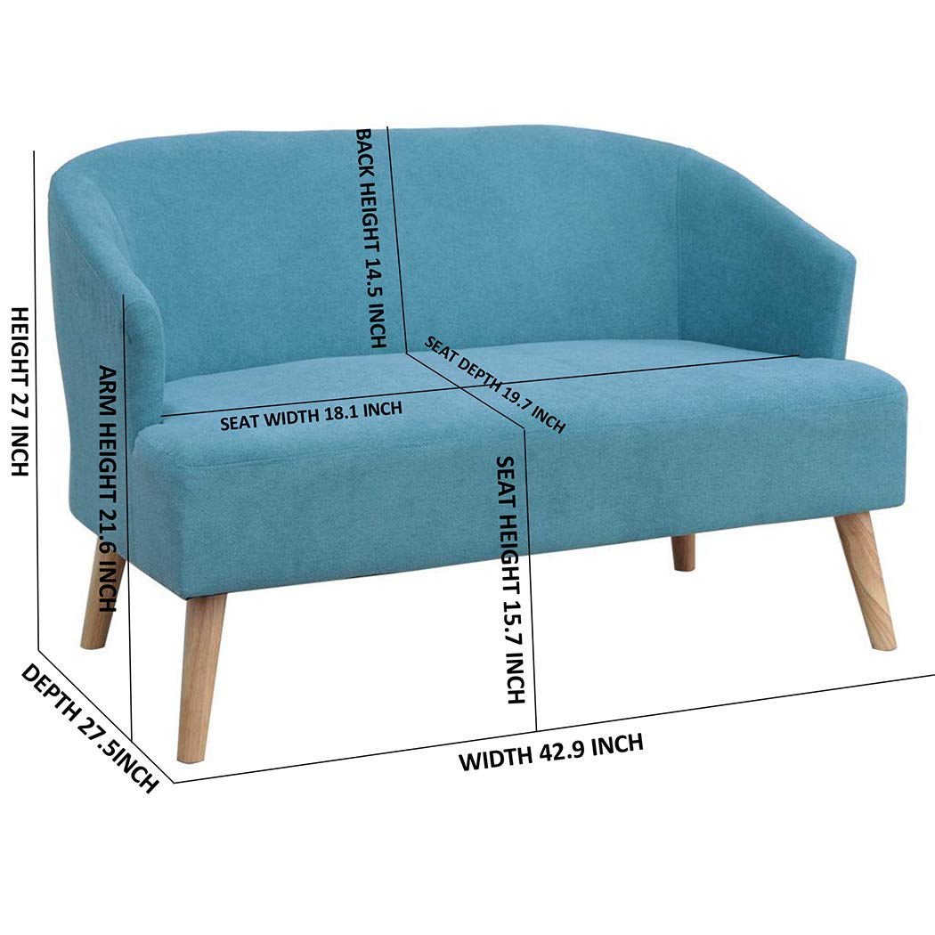 Outstanding Upholstery Modern Design Fabric Accent Chair Loveseat Leisure Small Sofa With Natural Wooden Legs Blue Loveseat Pdpeps Interior Chair Design Pdpepsorg
