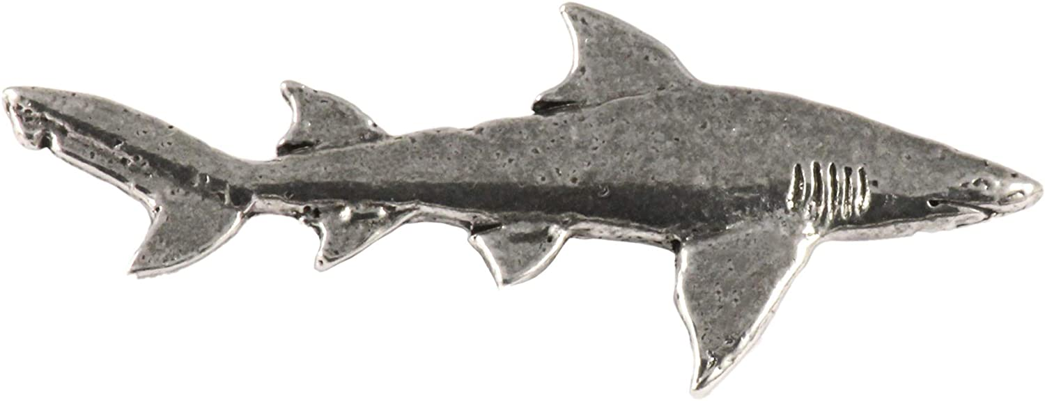 Creative Pewter Designs Shark Lapel Pin Made in USA Pewter Highly Detailed Artisan Brooch
