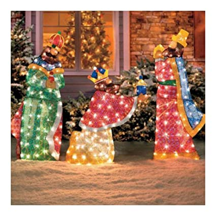 Amazon Com 3pc Lighted Nativity Scene 3 Wise Men Display Outdoor