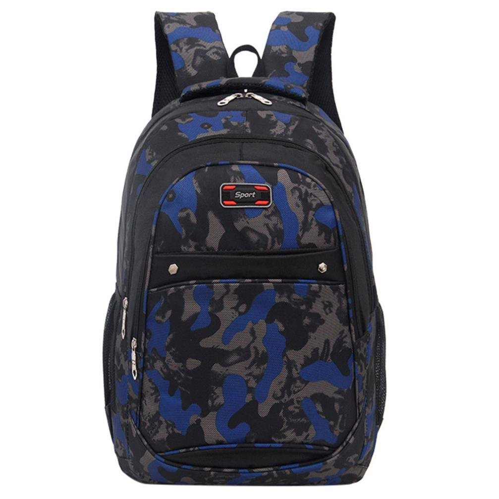 Mysky Teenage Girls Boys Students School Bags Camouflage Printing Backpack Travel Backpack (Dark Blue)