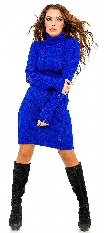 Glamour Empire. para mujer Vestido ajustado de canalé de punto cuello alto. 417 (Azul Real, 36/40): Amazon.es: Ropa y accesorios