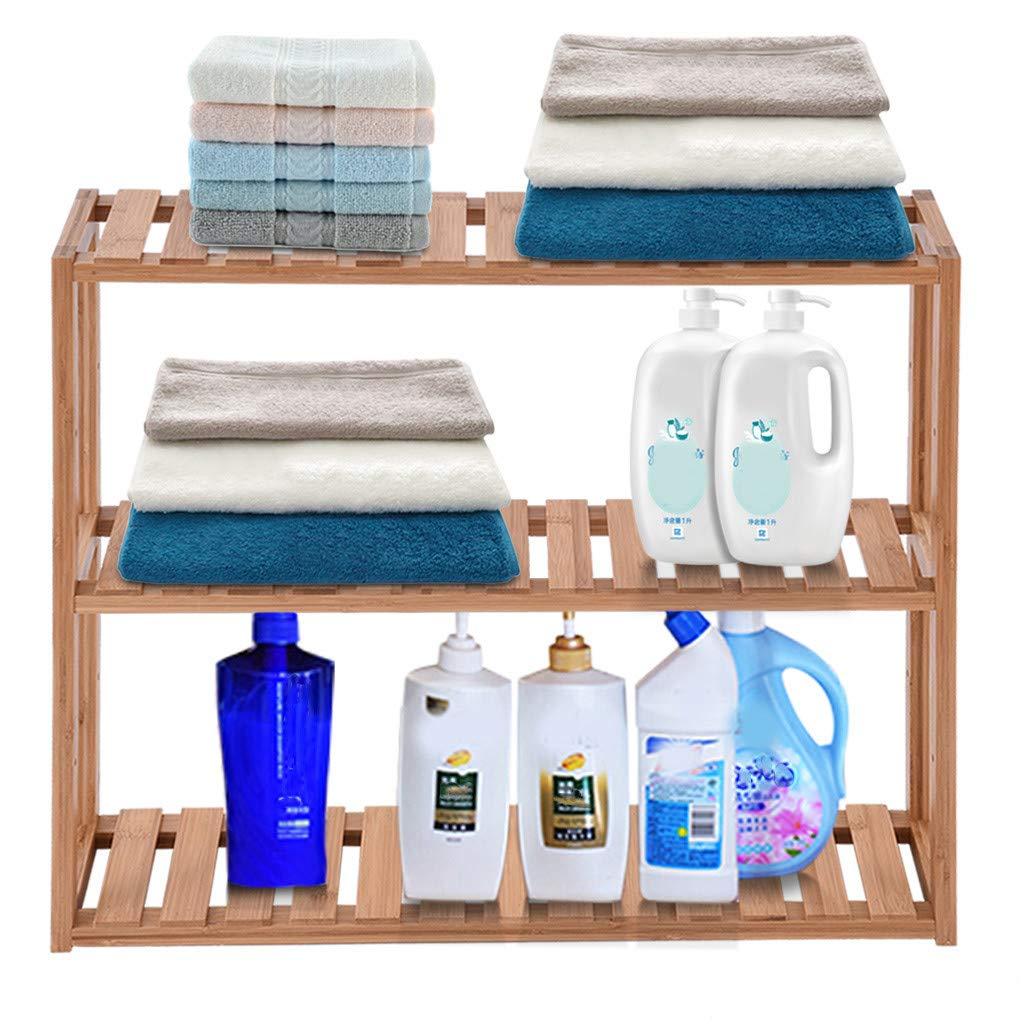 Agelloc Bamboo Bathroom Shelf 3-Tier Multi Functional Adjustable Layer Rack Wall Mounted Utility Storage Organizer