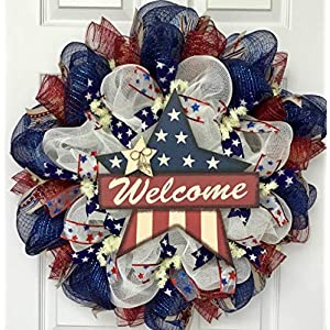Patriotic Welcome Star Handmade Deco Mesh Wreath 57