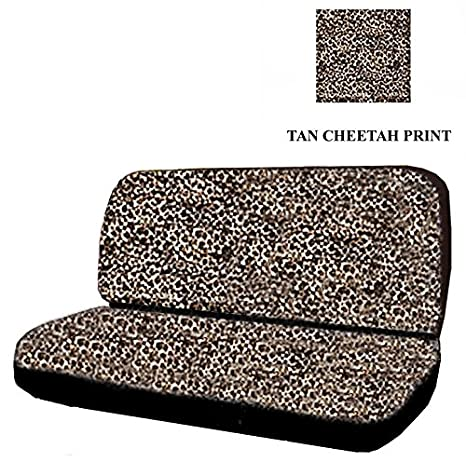 Car Truck SUV Cheetah Tan Rear Bench Or Small Seat Covers Black 2 Piece Universal
