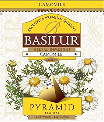Basilur | 100% Pure Chamomile Tea | Caffeine Free | Pyramid Tea Bags | Biodegradable Luxury Tea bags | For Hotels, Restuarants, Cafes and Tea lovers | Tea Sachets in Foodservice Pack | Pack of 50
