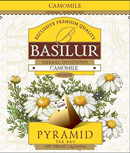 Basilur | 100% Pure Chamomile Tea | Caffeine Free | Pyramid Tea Bags | Biodegradable Luxury Tea bags | For Hotels, Restuarants, Cafes and Tea lovers | Ultra-Premium Tea Sachets in Box | Pack of 50