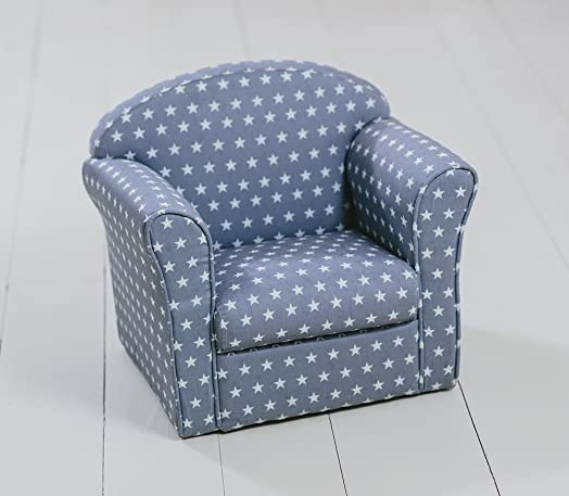 Beautiful Childrenu0027s Armchair, Grey With White Stars