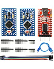 WayinTop 2pcs Pro Mini ATMEGA328P 3.3V 8MHz Development Board Microcontroller + FT232RL FTDI Mini USB to TTL Serial Converter Adapter Module 3.3V 5.5V + USB to Mini 5Pin Download Cable + Jumper Wires