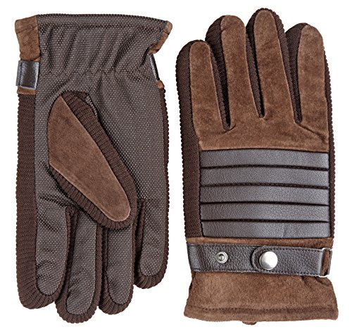 - Winter Wear Men's Leather and Seude Look Fleece Lined Warm Winter Grip Gloves - Brown (Size X-Large)