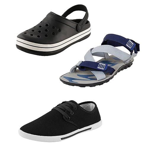 0b95356e8cc64 Bersache Men Combo Pack of 3 Sandal with Casual Shoes   Flip-Flops ...